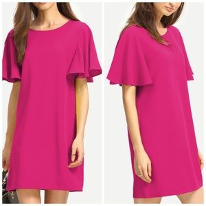 Shein Neon Pink Flutter Sleeve Tunic Dress